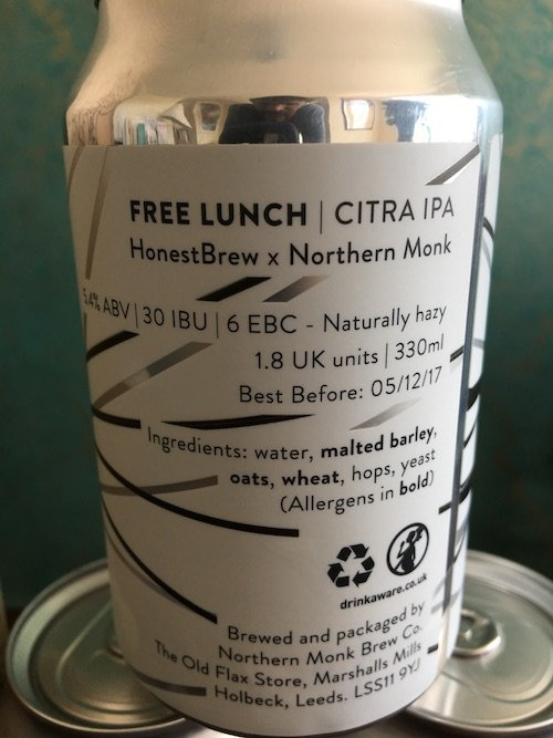 Free Lunch Northern Monk Beer