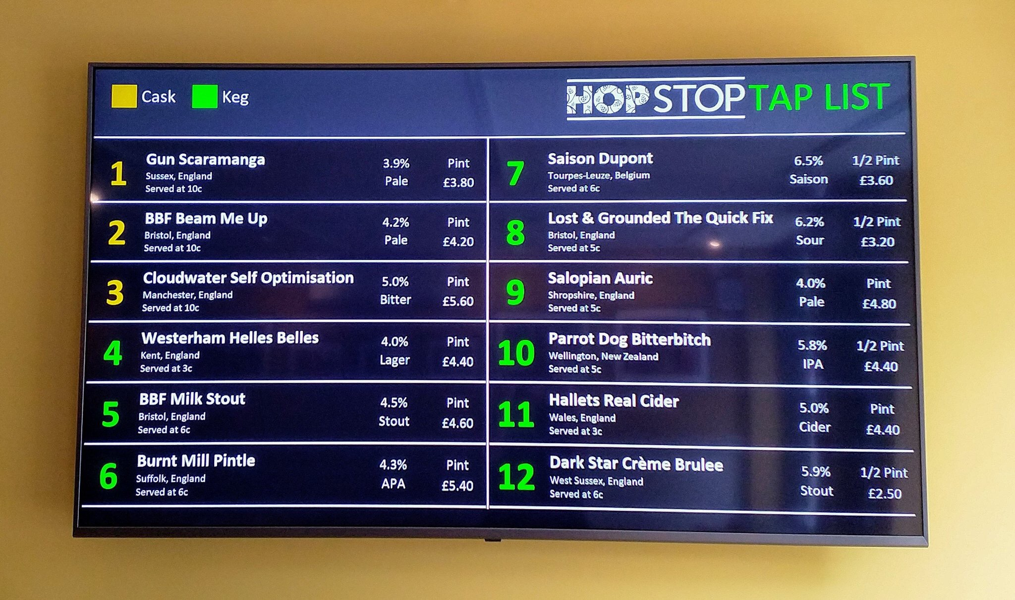 Hop Stop Bar in Reigate - Tap List